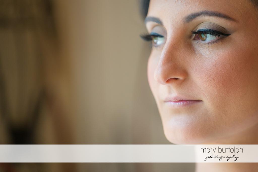 Close up shot of the pretty bride at Anyela's Vineyards Wedding