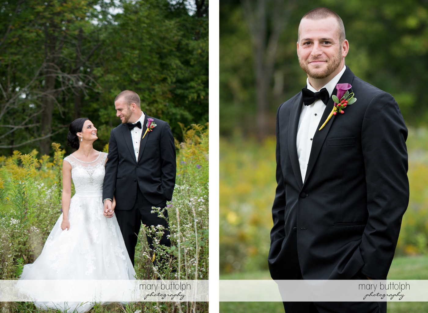 Couple pose in the garden while the groom goes solo at Anyela's Vineyards Wedding