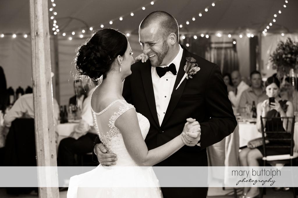 Couple dance at the wedding reception at Anyela's Vineyards Wedding