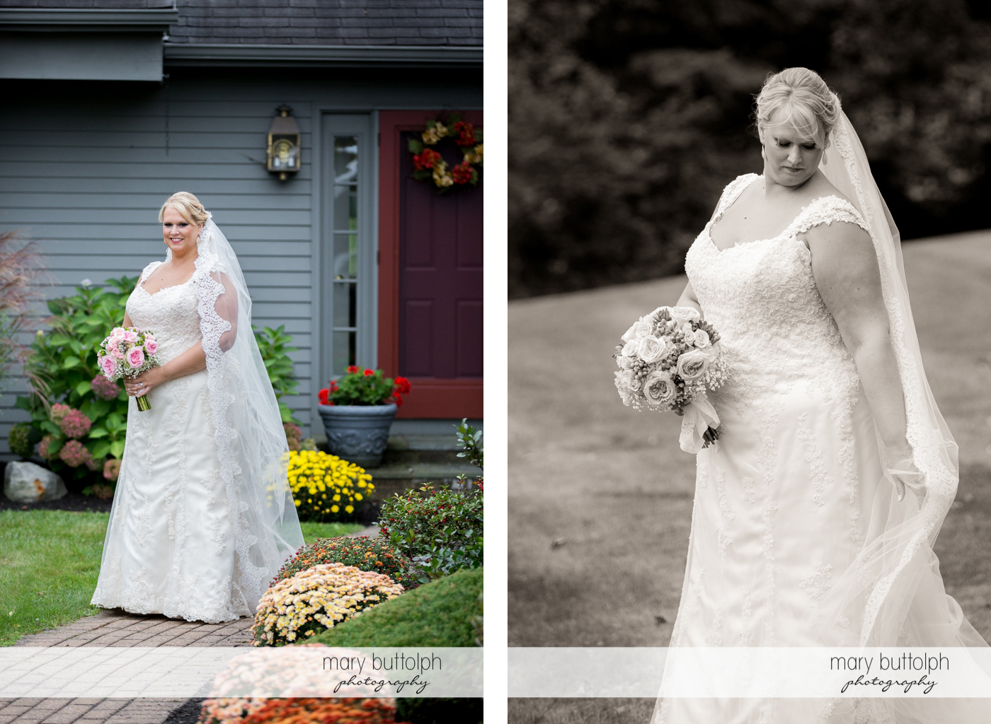 Bride shows her wedding dress in the garden at the Lodge at Welch Allyn Wedding
