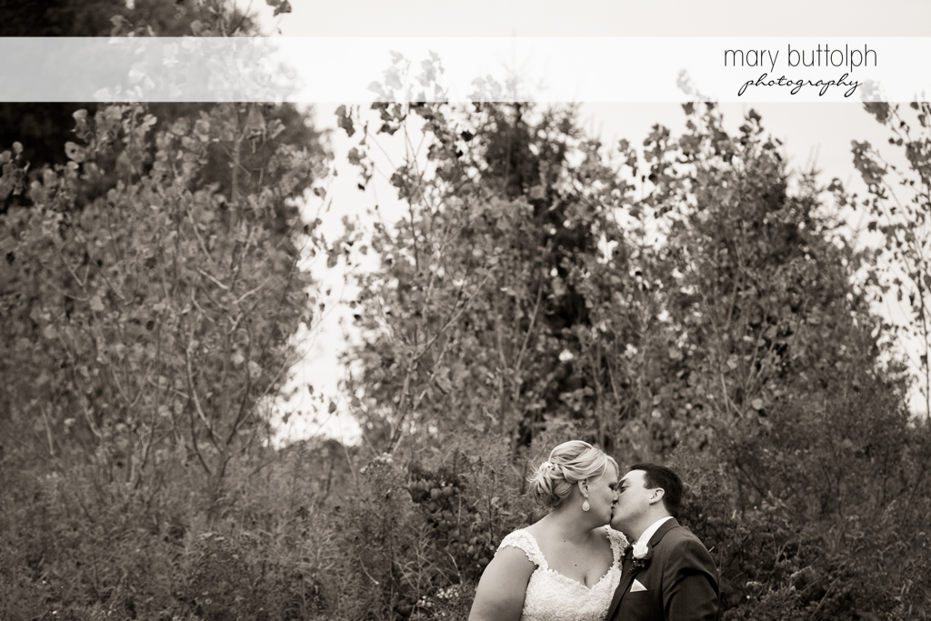 Couple kiss in front of trees at the Lodge at Welch Allyn Wedding