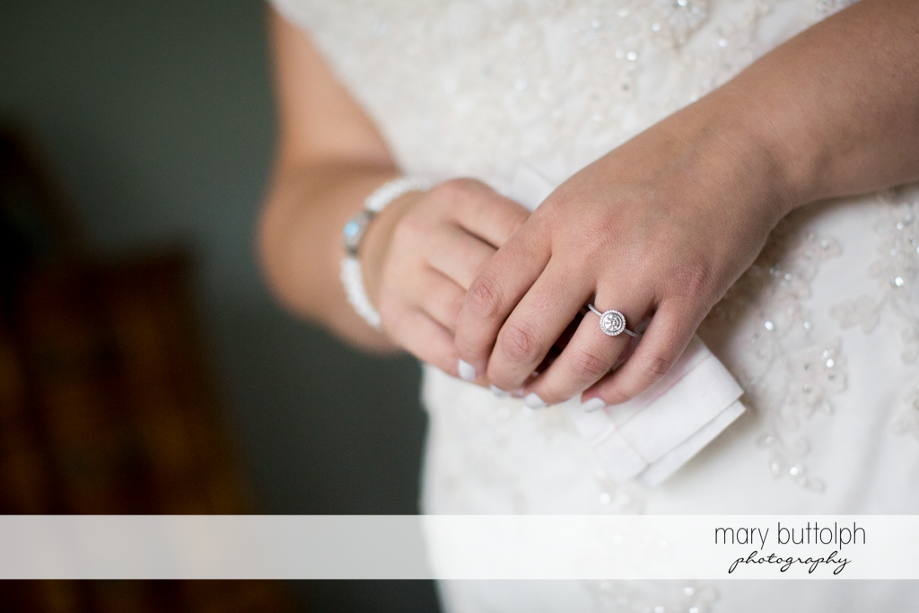 Bride's wedding ring is the star of this photo at the Lodge at Welch Allyn Wedding