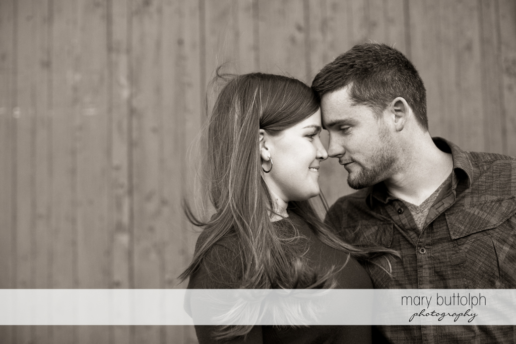 Couple see eye to eye in this black and white photo at Geneva Engagement