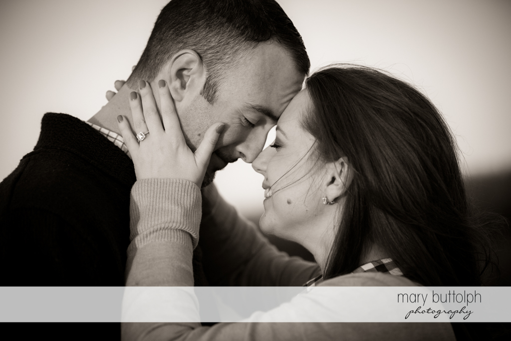 Couple in dramatic black and white shot at Cazenovia Engagement