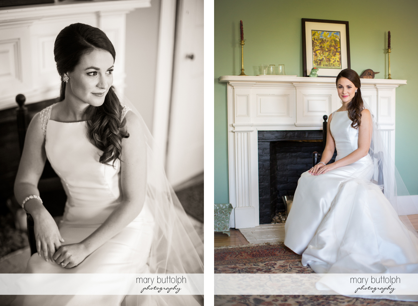 Bride's beauty is captured in these two photos at Frog Pond Bed & Breakfast Wedding