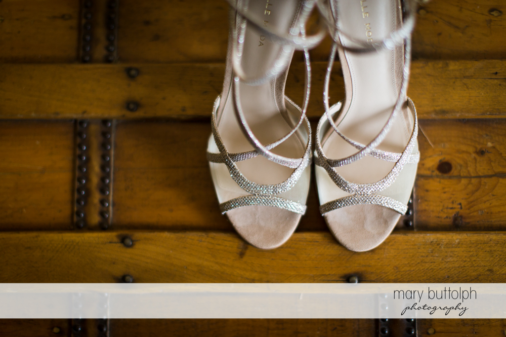 Close up shot of bride's wedding shoes at Frog Pond Bed & Breakfast Wedding