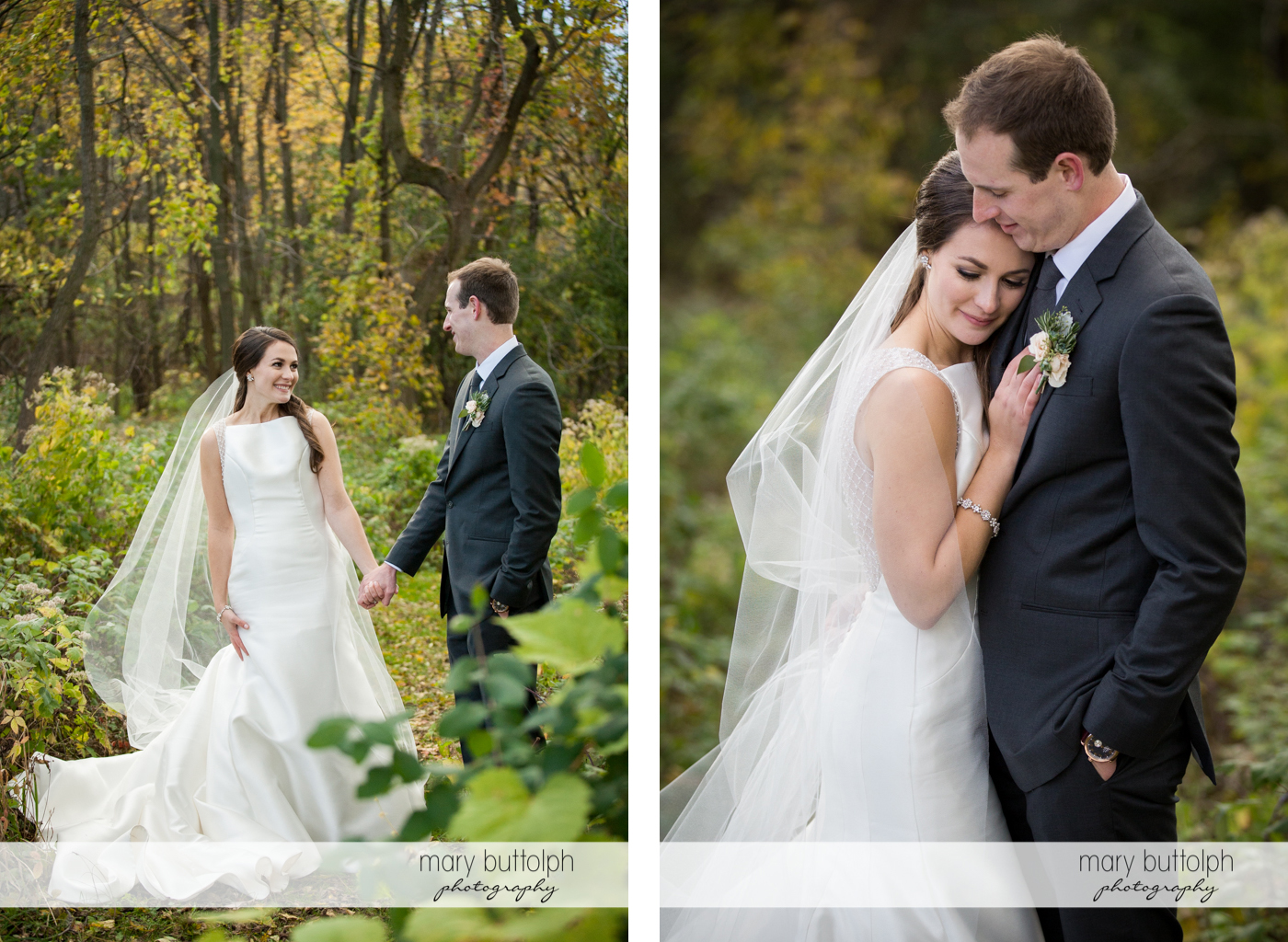 Couple face each other and embrace in the woods at the Frog Pond Bed & Breakfast Wedding