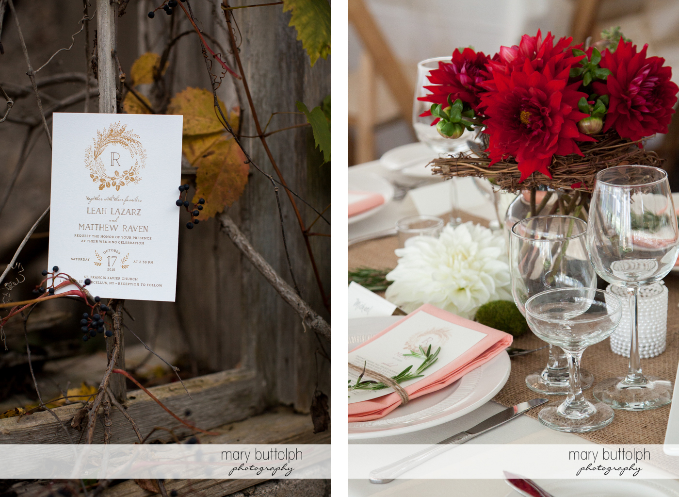 Wedding invitation and flowers brighten up the table at the Frog Pond Bed & Breakfast Wedding