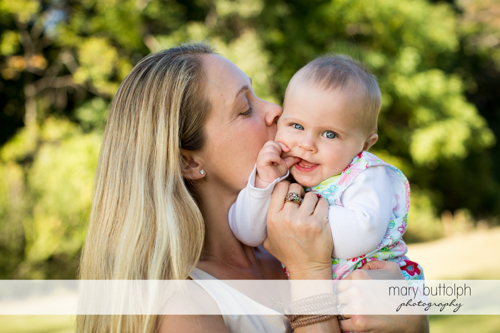 Baby enjoys the company of her mom at Skaneateles Lake