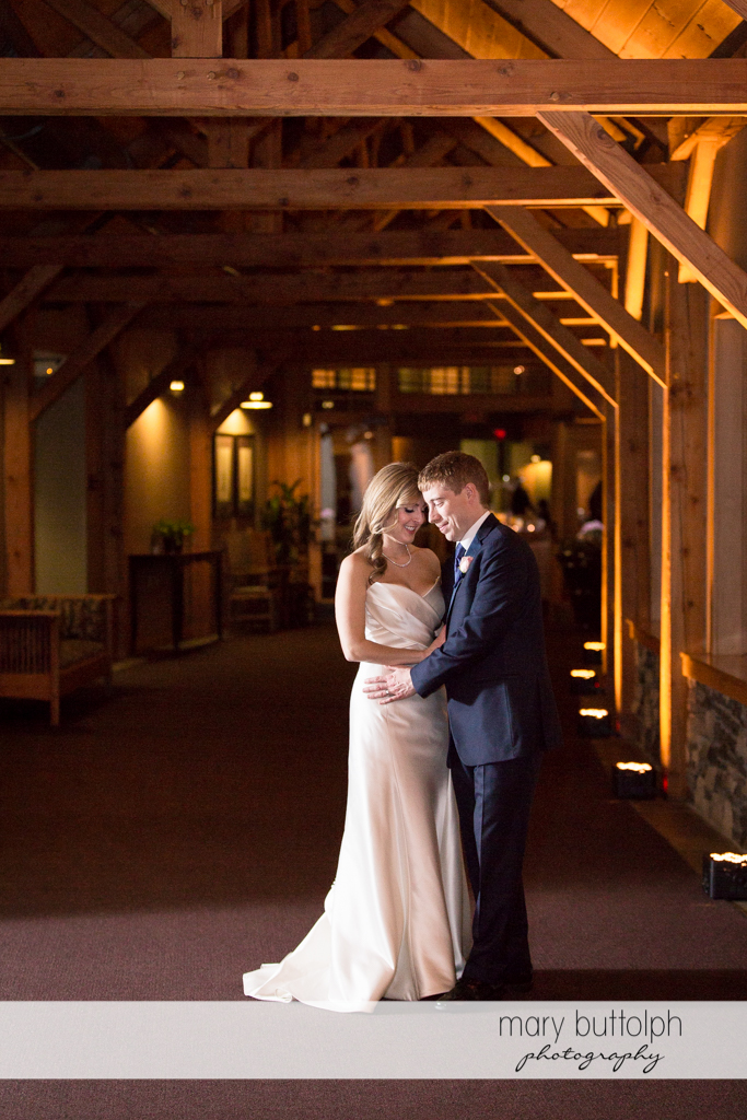 Couple share a moment together at the Lodge at Welch Allyn Wedding