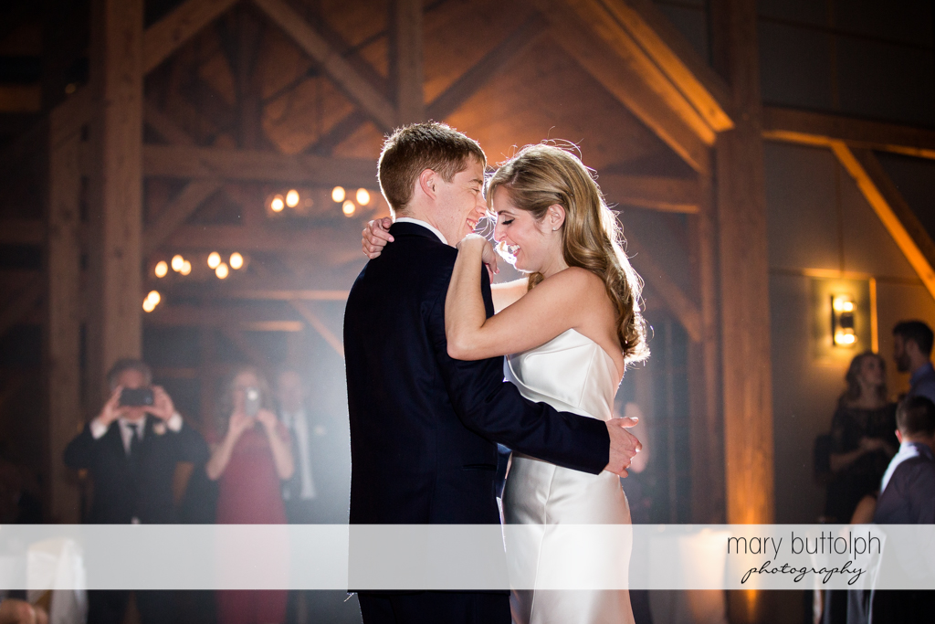 Couple dance for guests at the Lodge at Welch Allyn Wedding