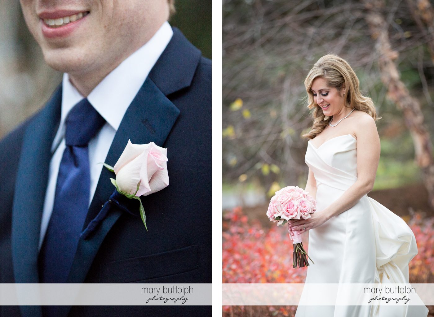 Close up shot of groom's boutonniere and the bride holding a bouquet in the woods at the Lodge at Welch Allyn Wedding