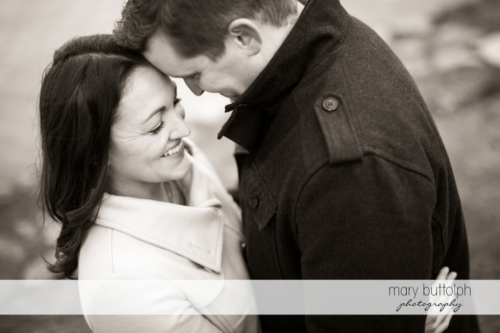 Couple captured in black and white photo shoot at Skaneateles Engagement