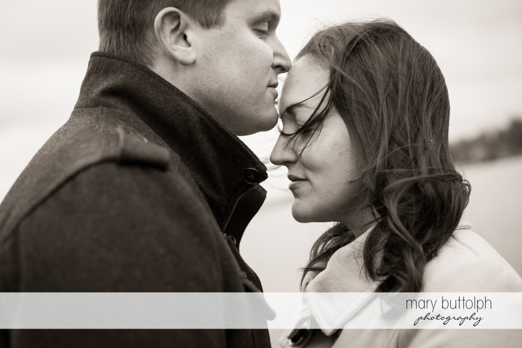 Couple in dramatic black and white shot at Skaneateles Engagement