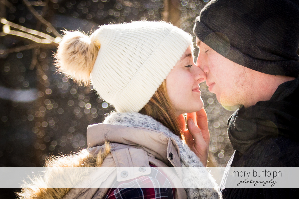 Couple find love in cold weather at Green Lakes Engagement