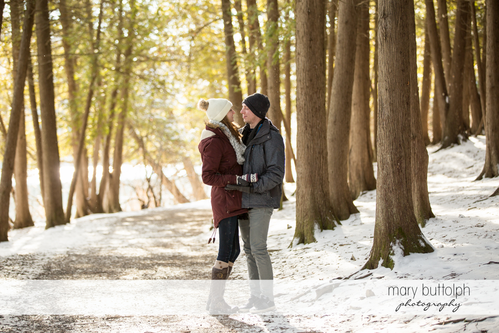 Couple stop by the forest at Green Lakes Engagement