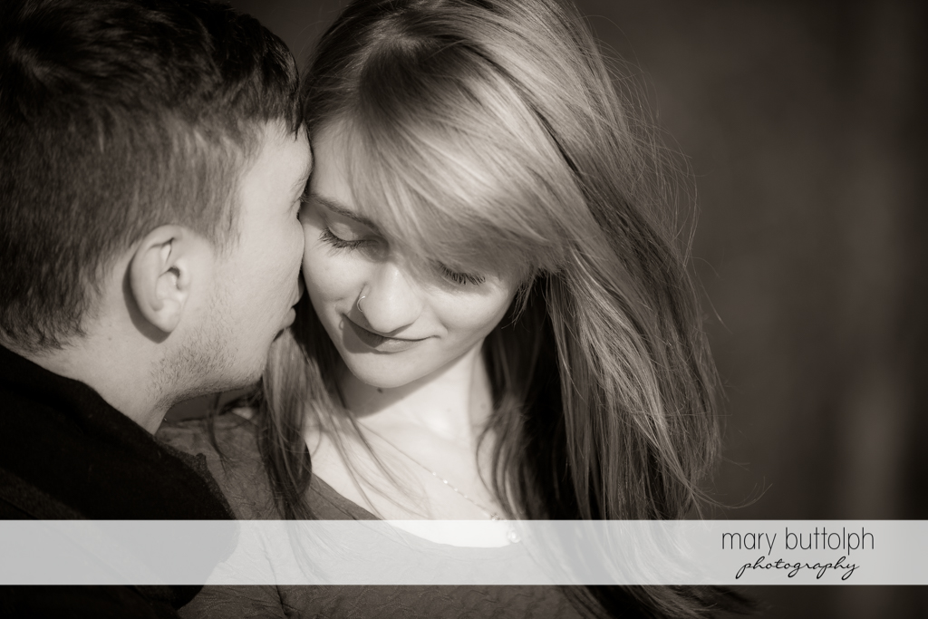 Couple in dramatic black and white shot at Green Lakes Engagement