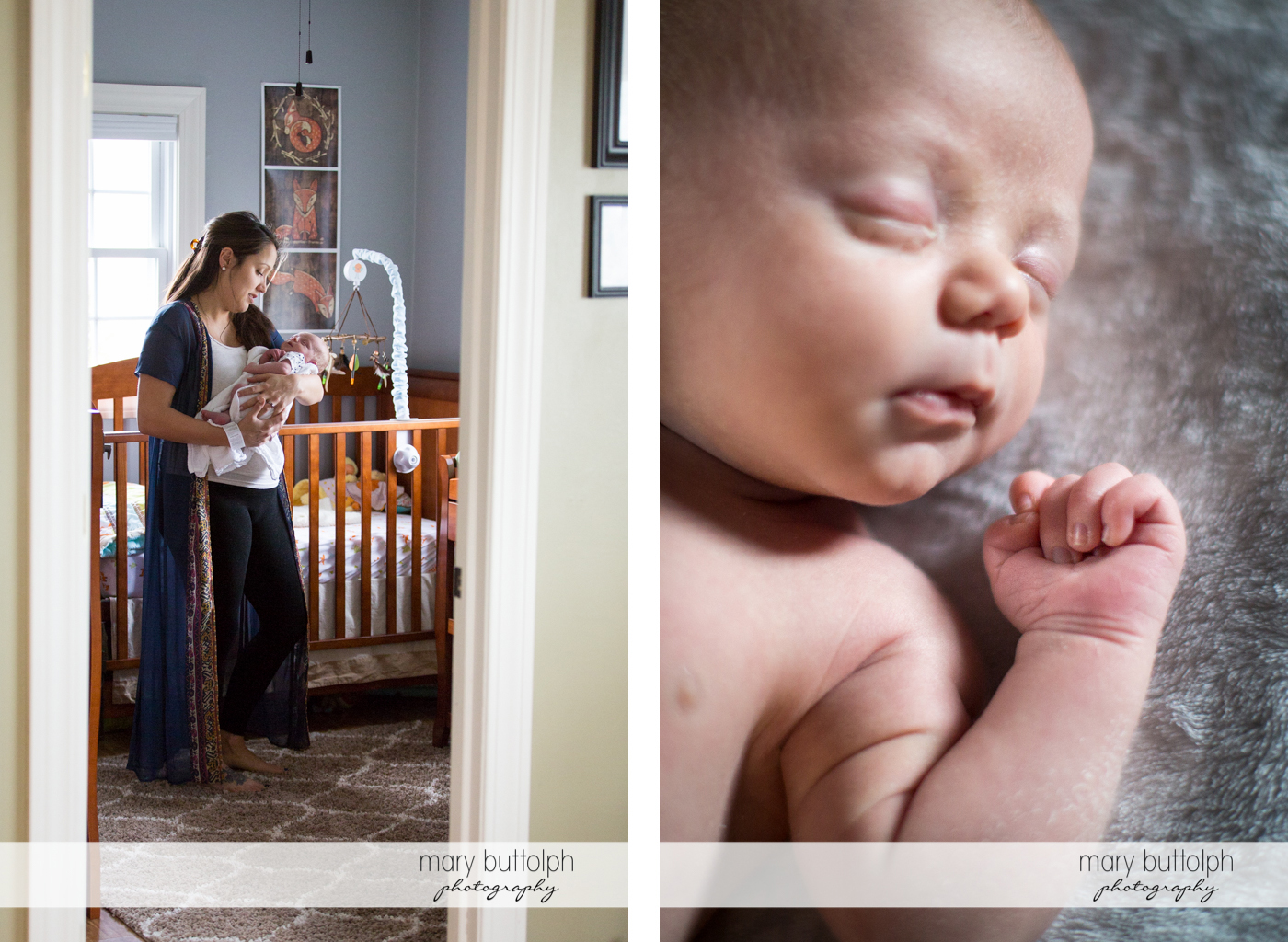 Mother and her new baby pose by the crib and a close up shot of the baby at Skaneateles Newborn