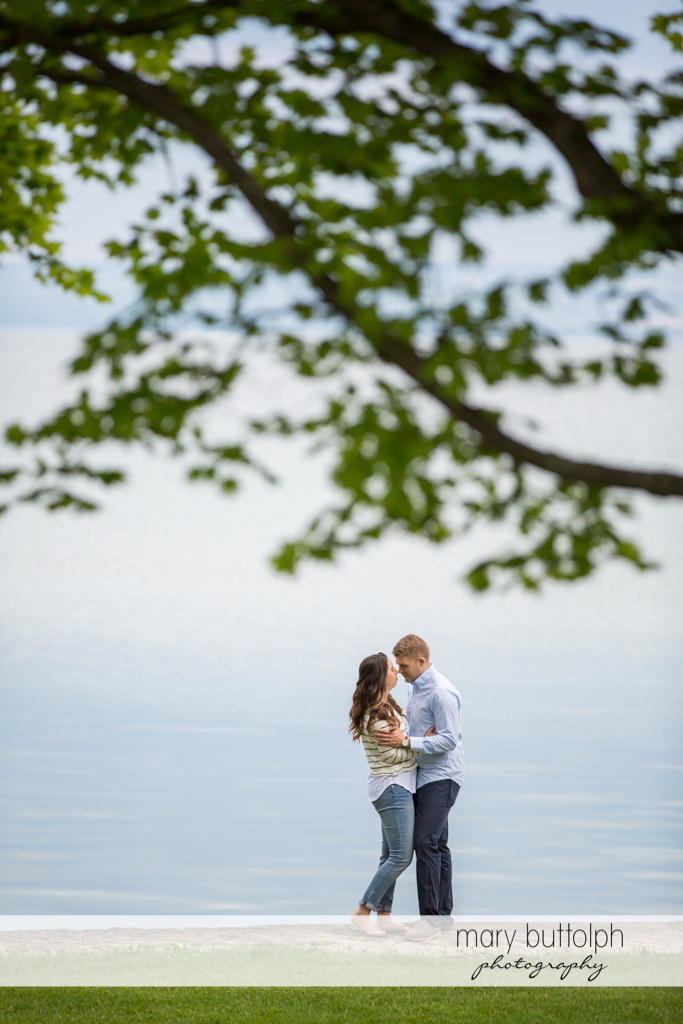 Couple embrace by the lake at Hobbit Hollow Engagement