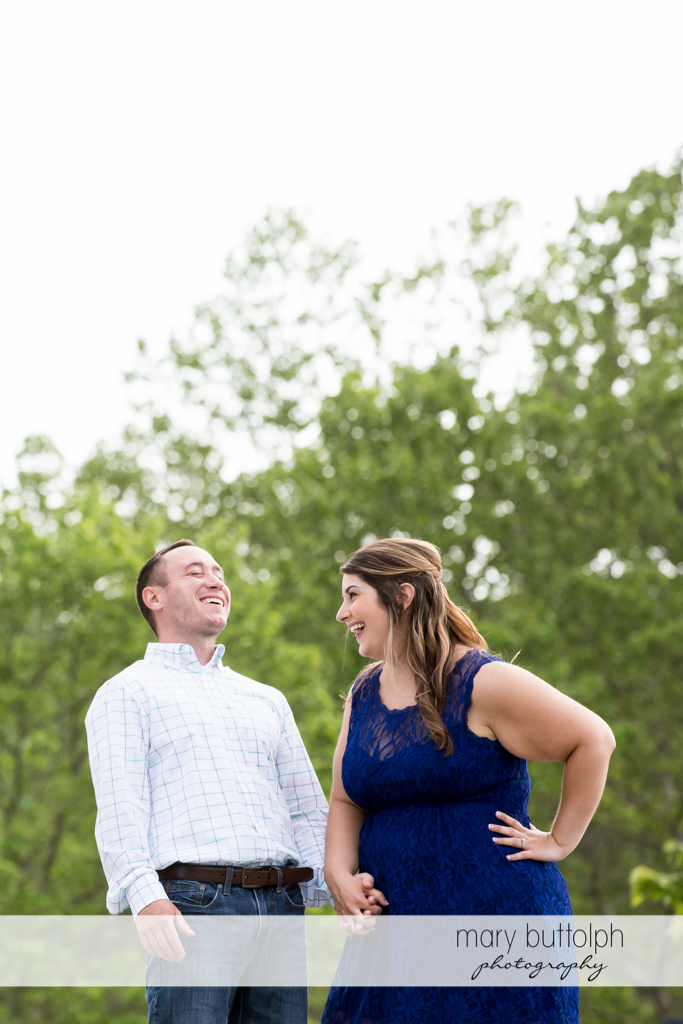 Couple share a joke at Emerson Park Engagement