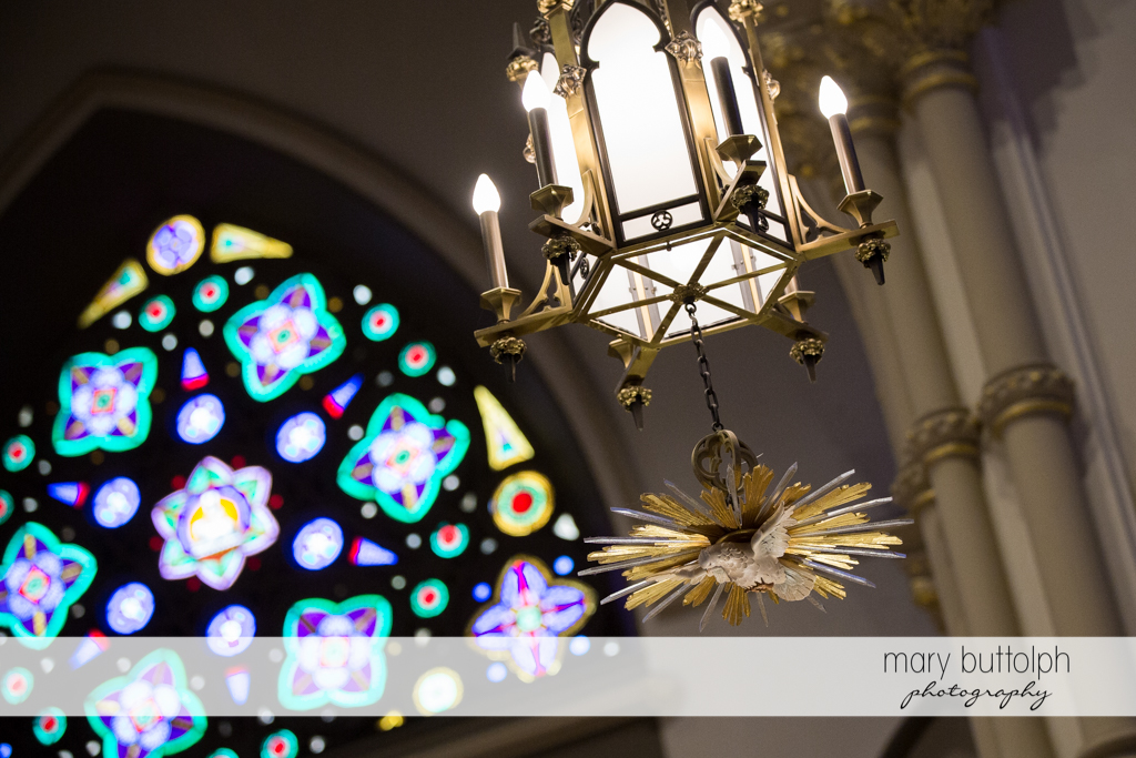 One of the church chandeliers at Skaneateles Country Club Wedding