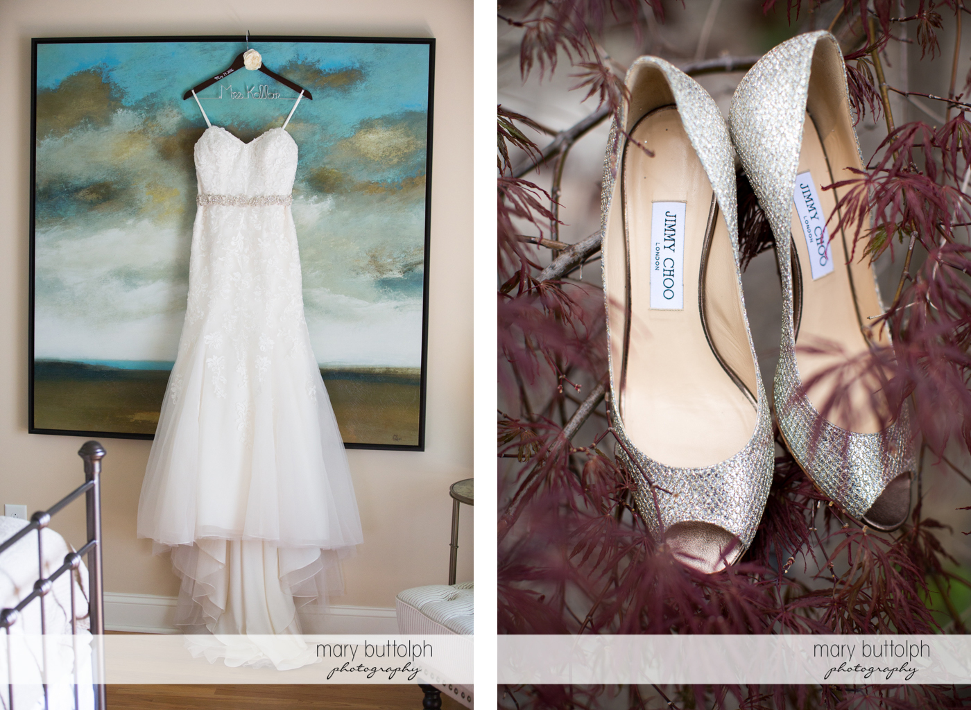 Bride's wedding dress hangs on a painting while her wedding shoes are on a tree branch at Skaneateles Country Club Wedding