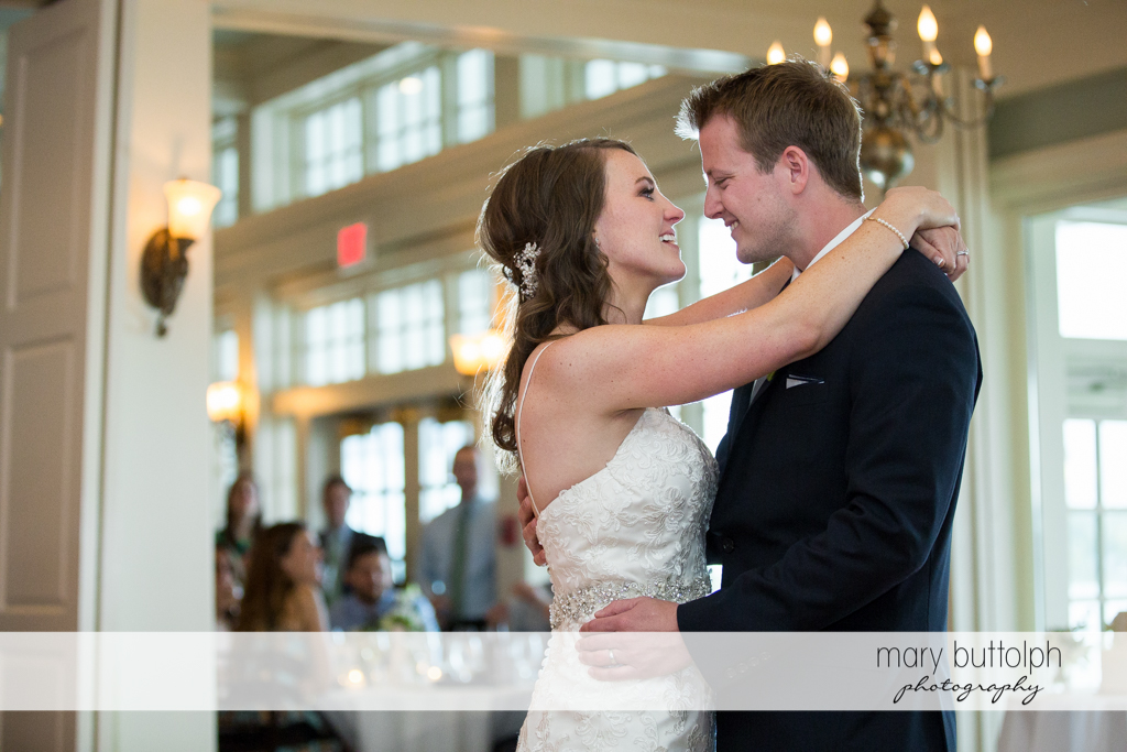 Couple prepare to dance to the delight of guests at Skaneateles Country Club Wedding
