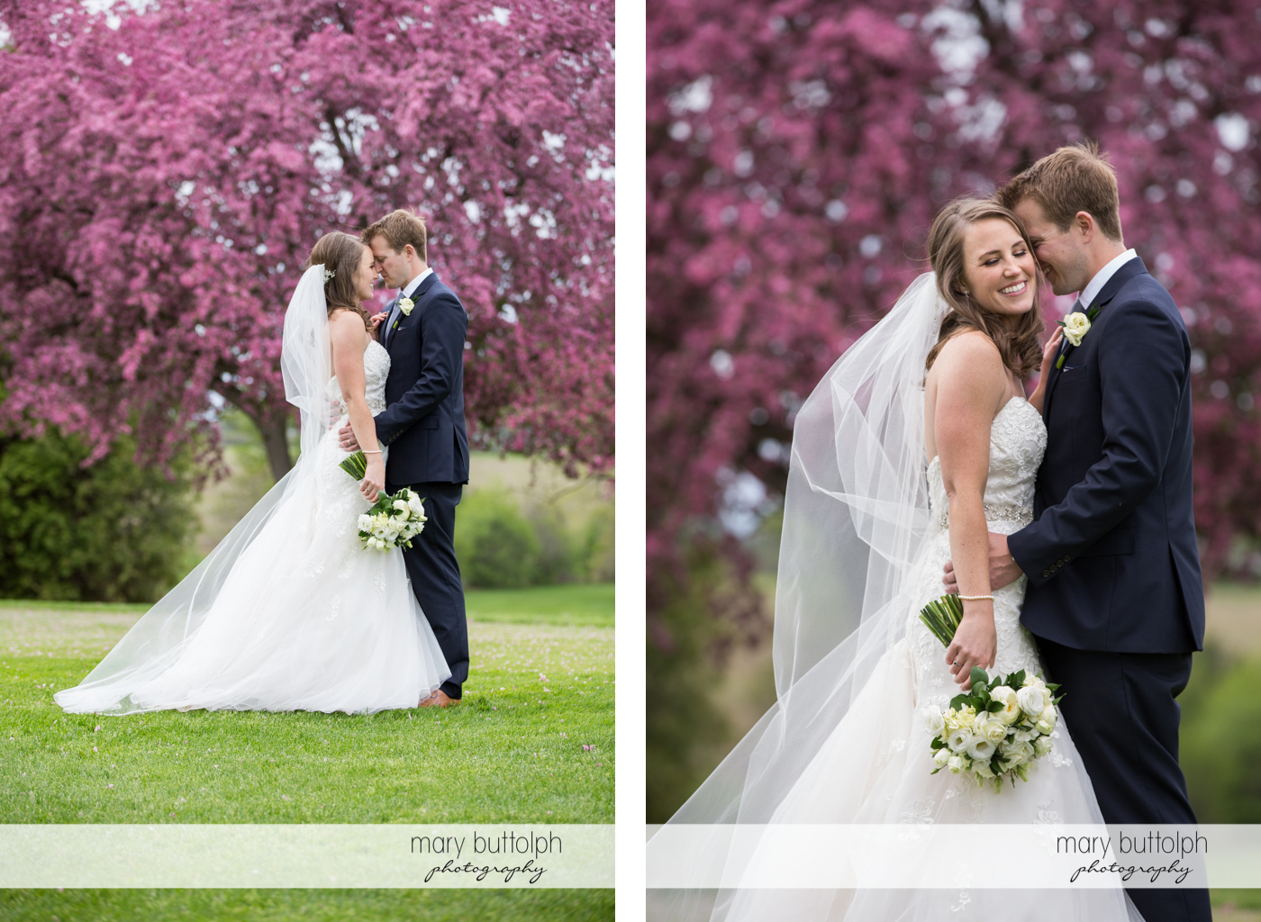 Couple pose in front of a tree with purple flowers at Skaneateles Country Club Wedding