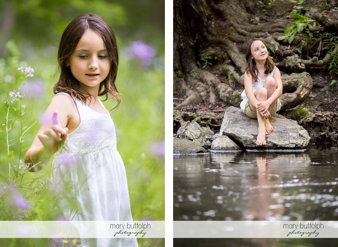 Couple's daughter picks a flower in the garden and poses by the lake in Skaneateles Engagement