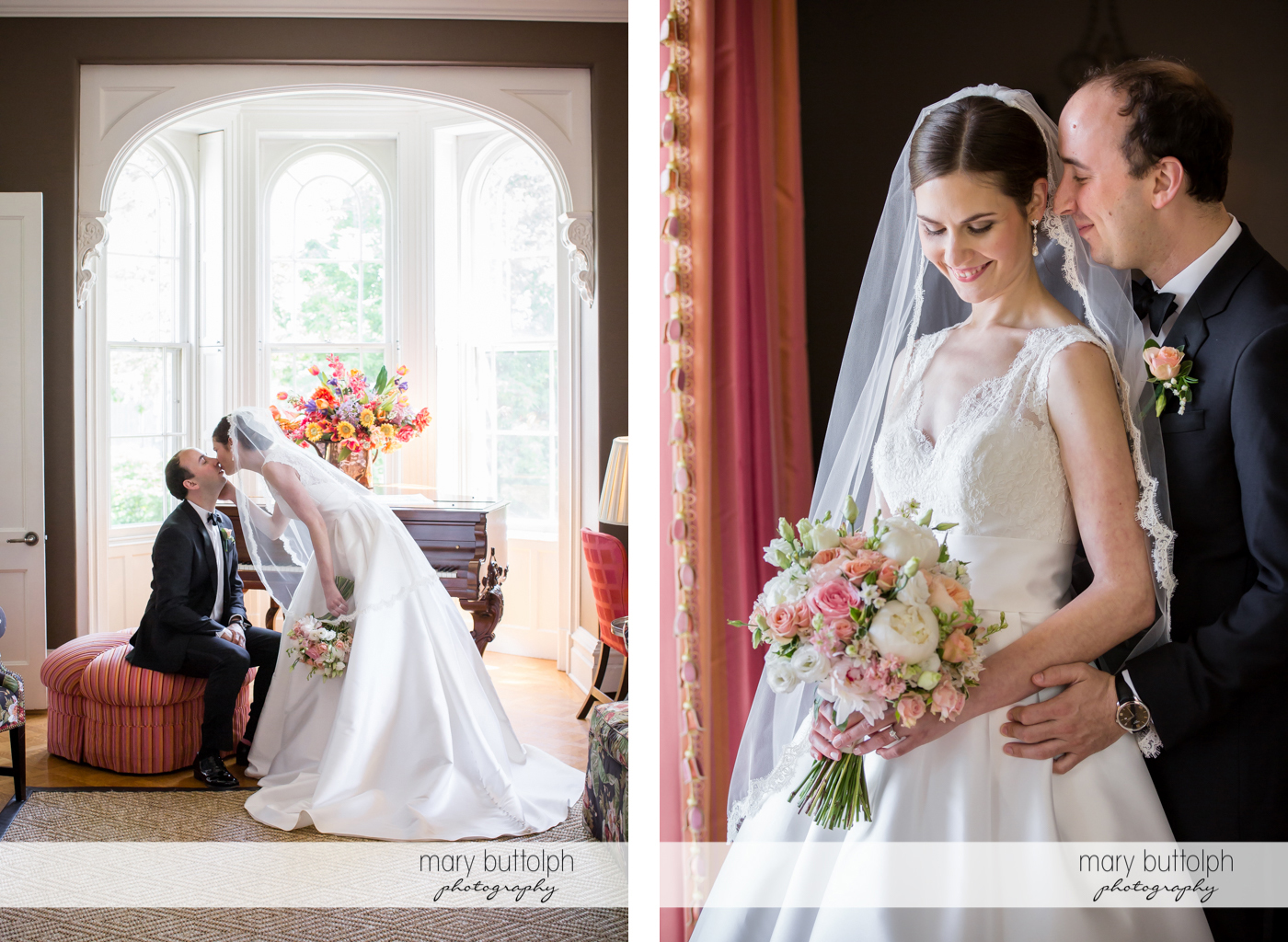Couple kiss and stand by the window at the Inns of Aurora Wedding