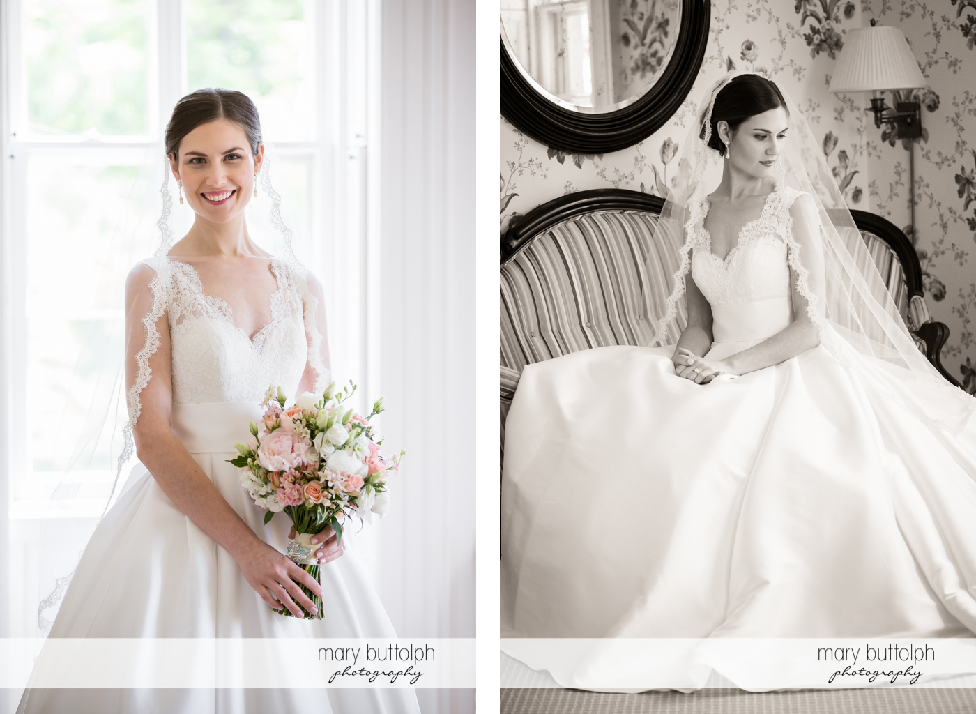 Two different shots of the happy bride at the Inns of Aurora Wedding