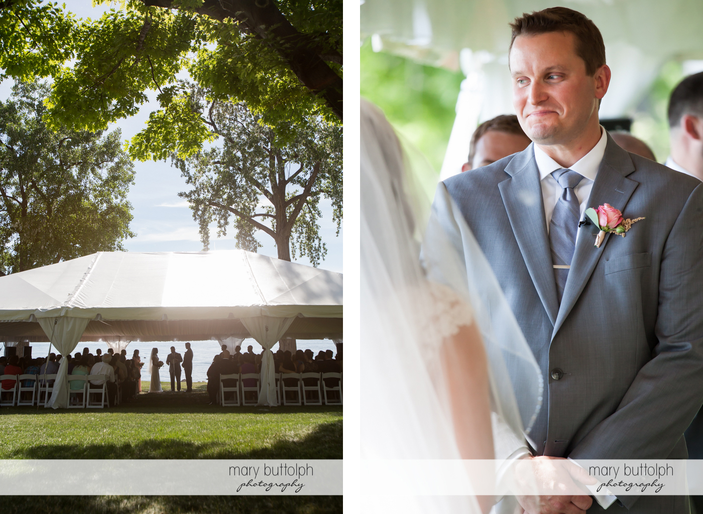 The couple and their guests in the wedding tent and the dashing groom at the Inns of Aurora Wedding