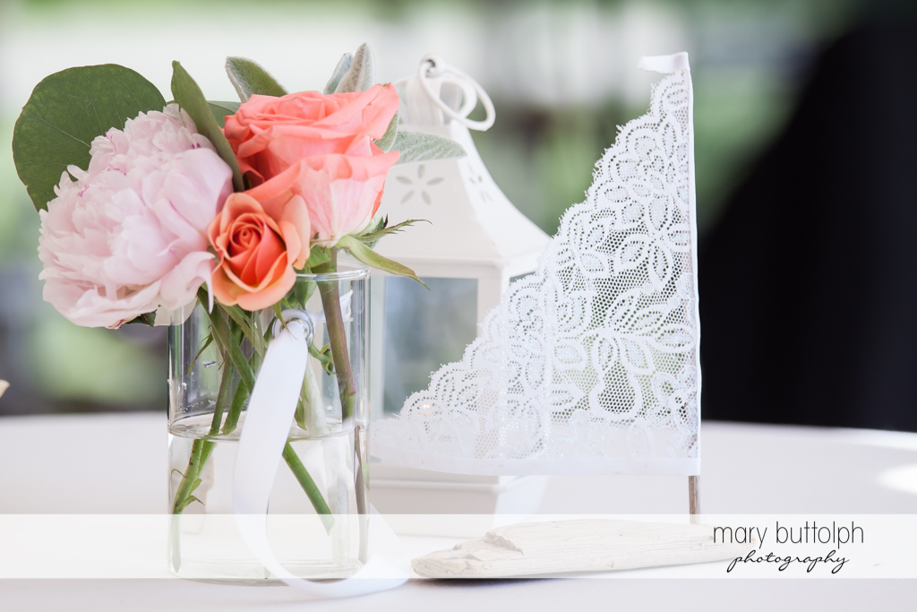 Flowers add a touch of class to the dining area at the Inns of Aurora Wedding