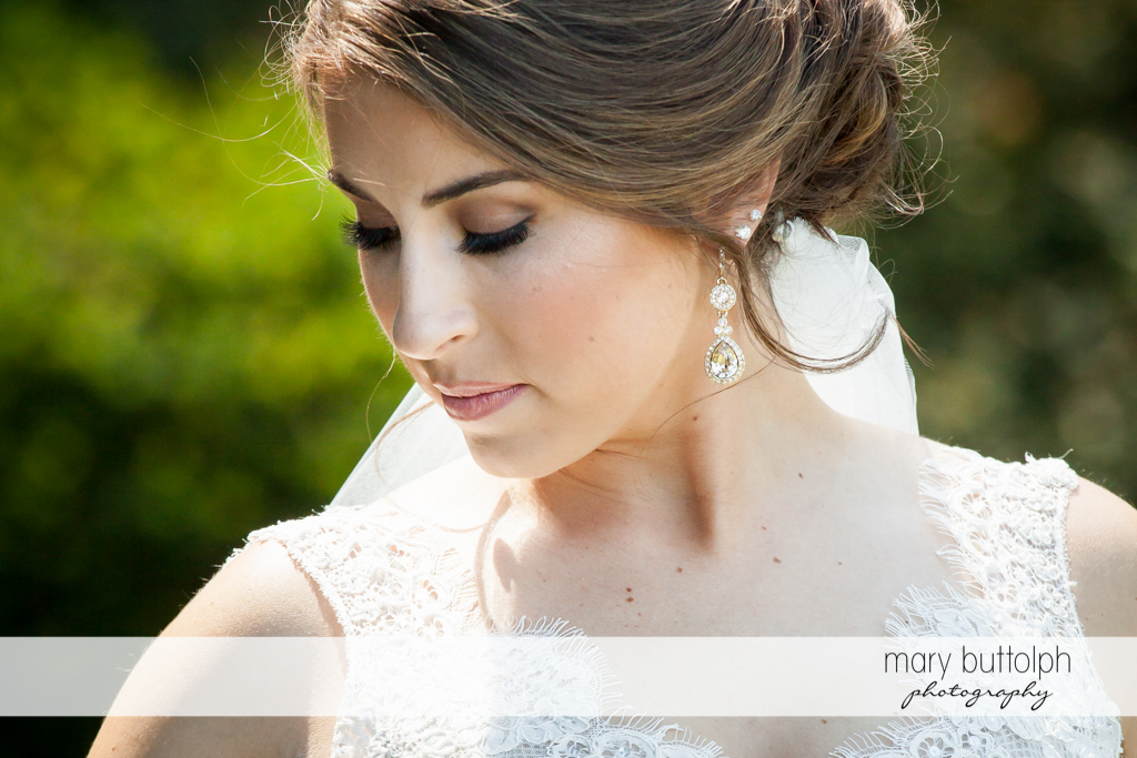 Close up shot of bride at The Lodge at Welch Allyn Wedding