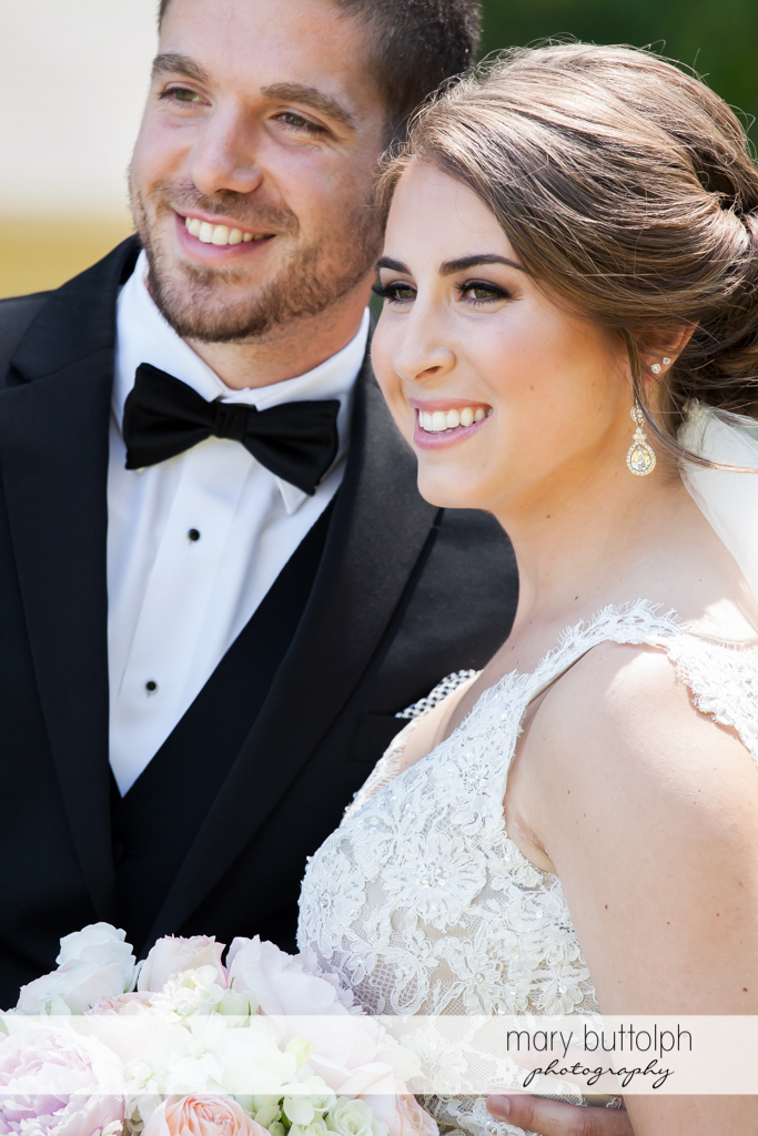 Close up shot of happy couple at The Lodge at Welch Allyn Wedding