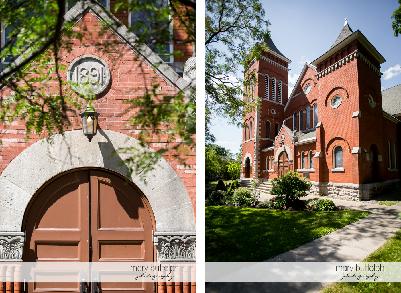 Two views of the church where the couple were married at The Lodge at Welch Allyn Wedding