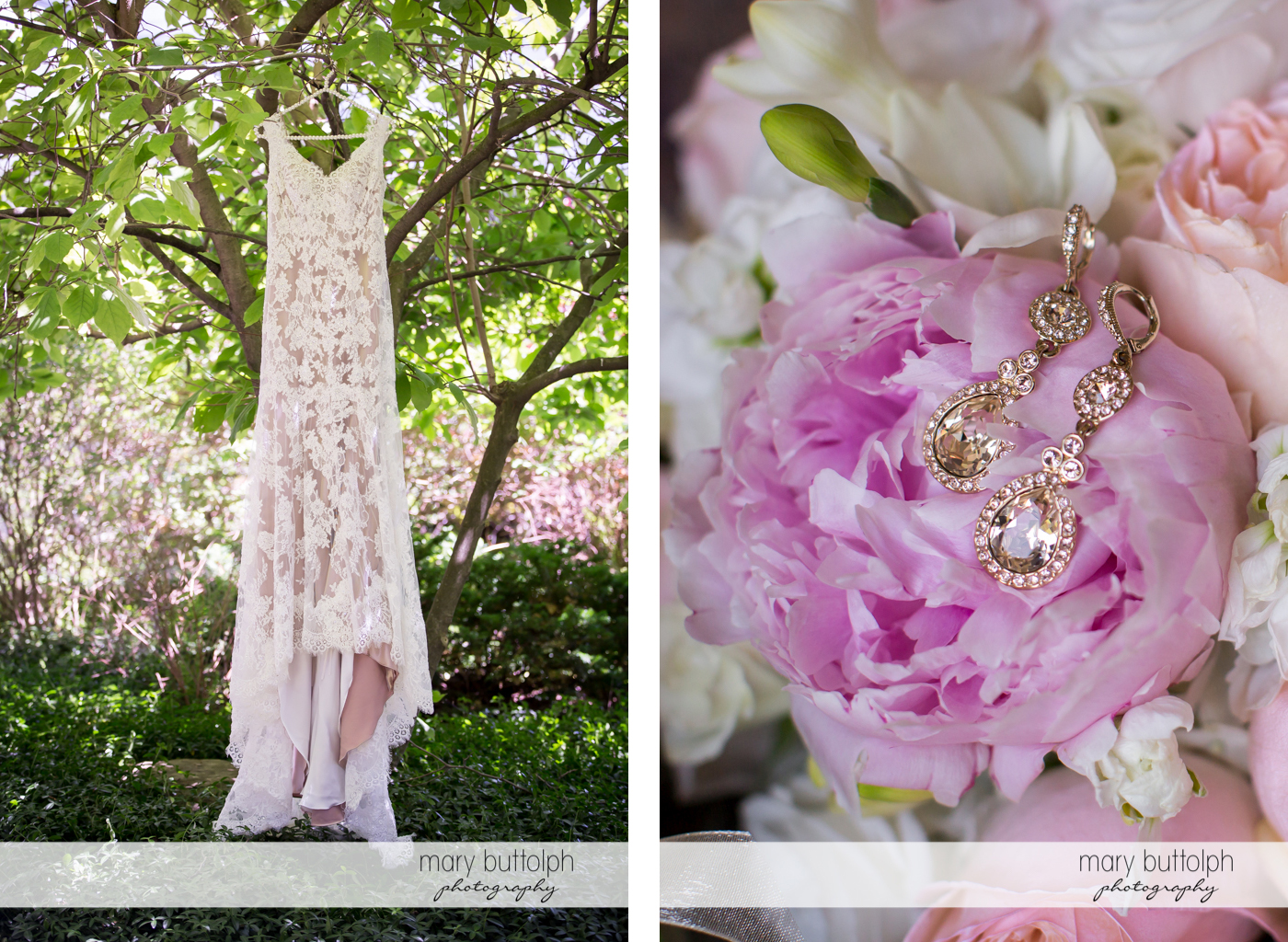 Bride's wedding dress hangs from a tree while her earrings sit on flowers in the garden at The Lodge at Welch Allyn Wedding