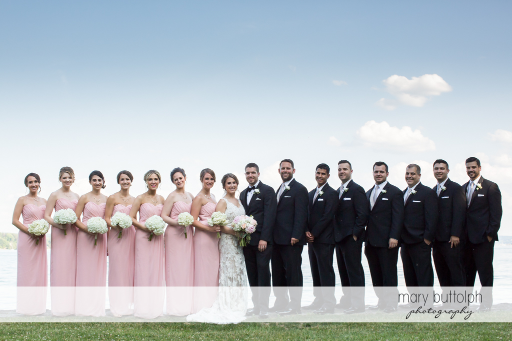 The wedding party in the garden at The Lodge at Welch Allyn Wedding