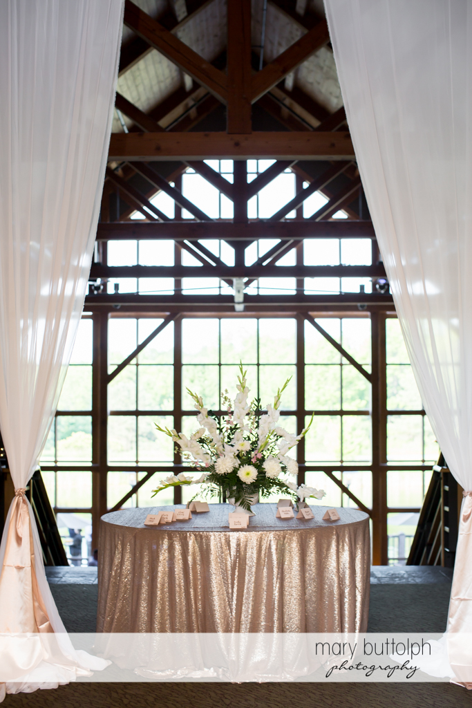 The table that greets guests at the wedding reception at The Lodge at Welch Allyn Wedding