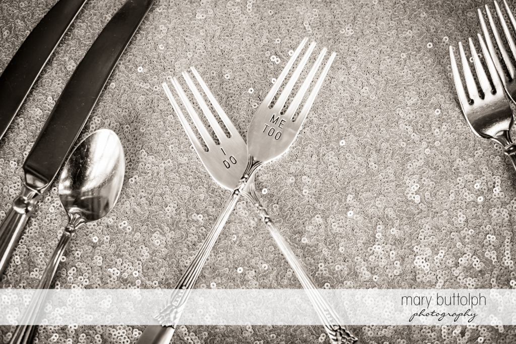 Beautiful silverware proclaim the couple's love for each other at The Lodge at Welch Allyn Wedding