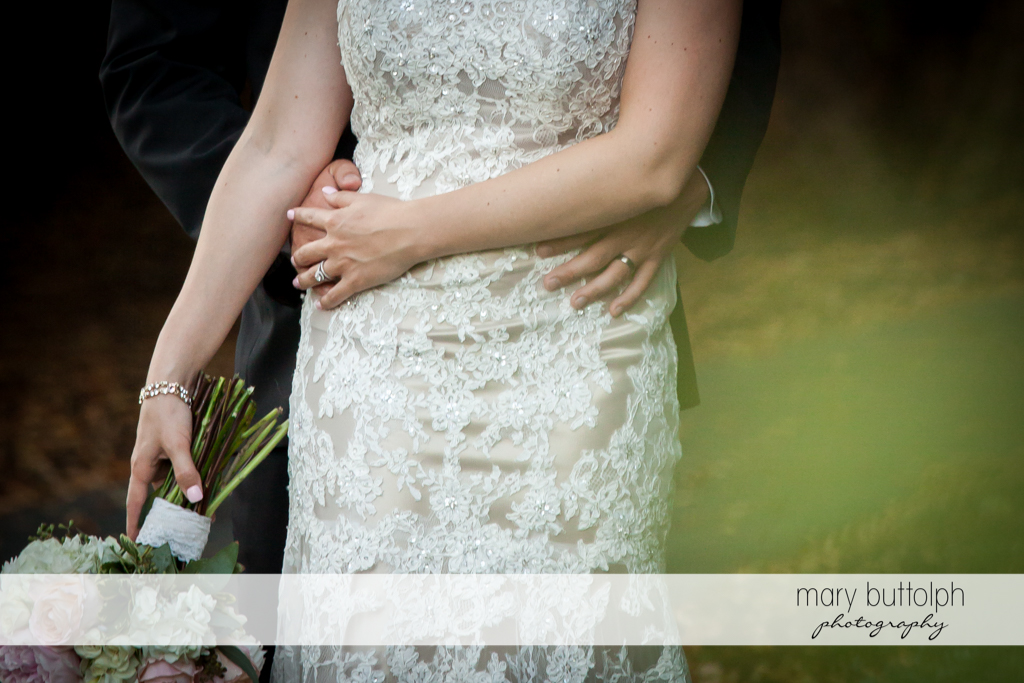 Half body shot of couple in the garden at The Lodge at Welch Allyn Wedding