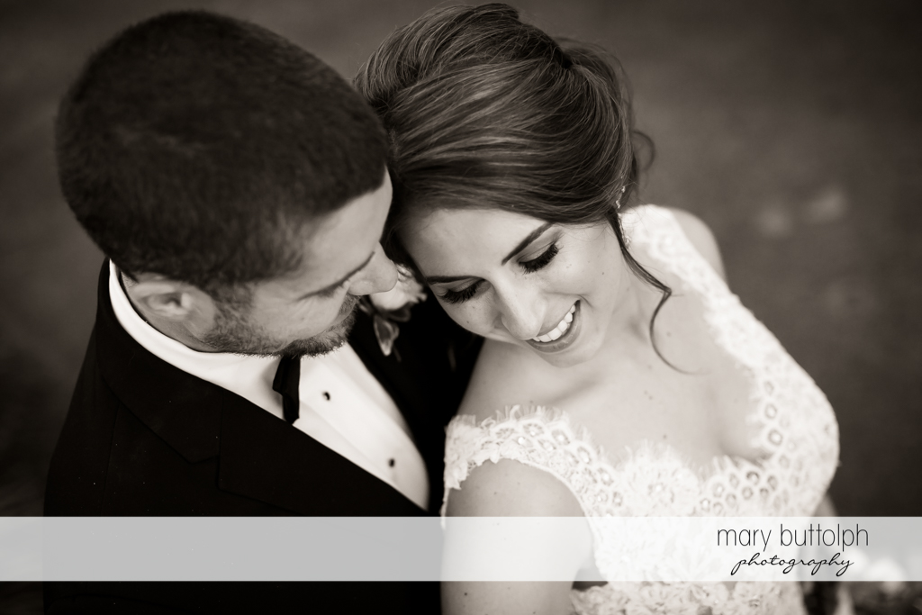 Couple look happy with their new life together at The Lodge at Welch Allyn Wedding