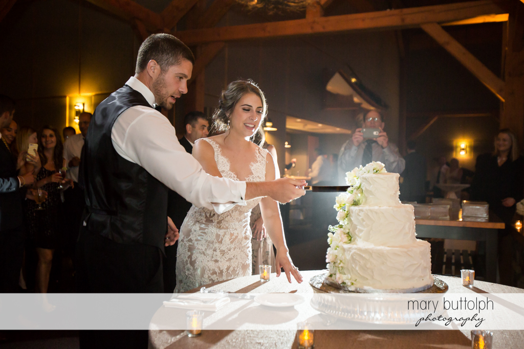 Couple cut the wedding cake at The Lodge at Welch Allyn Wedding