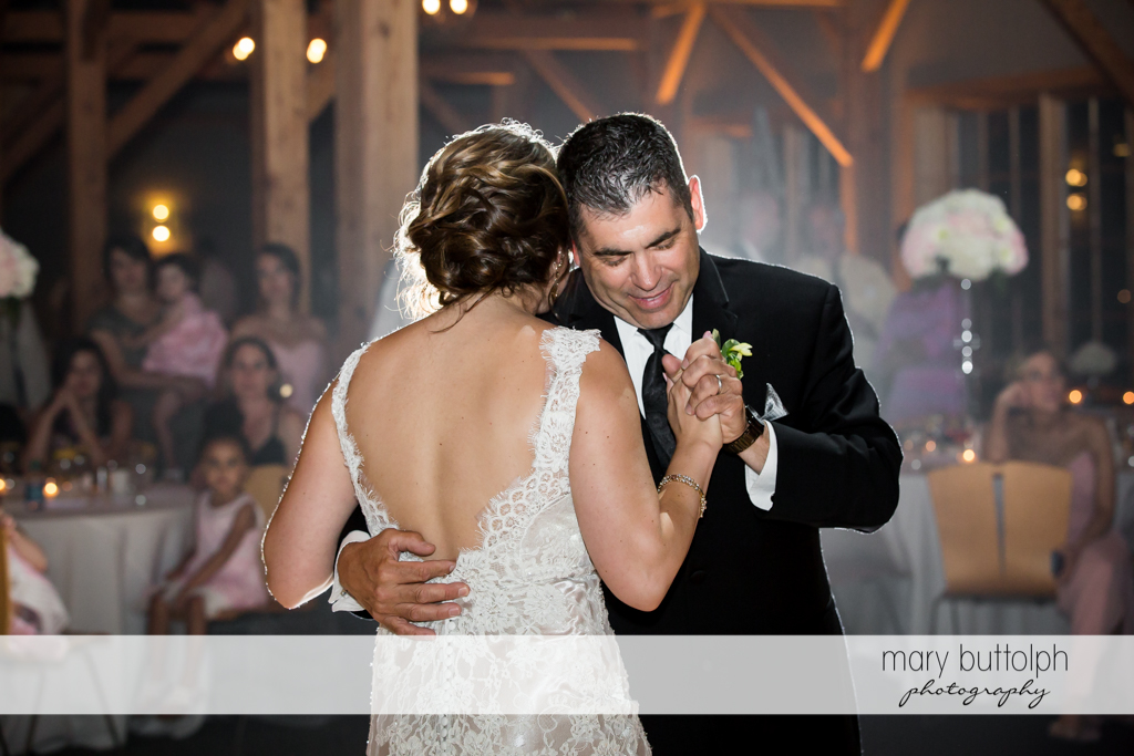 Guests dance at the wedding reception at The Lodge at Welch Allyn Wedding