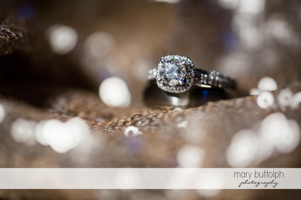Close up shot of bride's ring at The Lodge at Welch Allyn Wedding