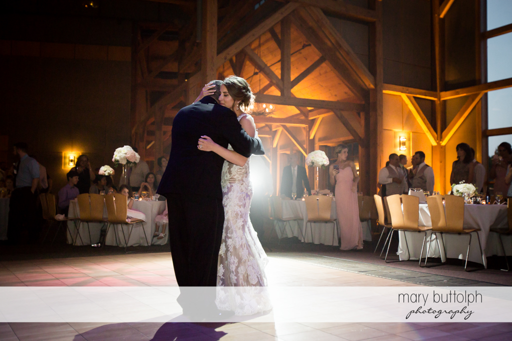 Couple in slow dance at The Lodge at Welch Allyn Wedding