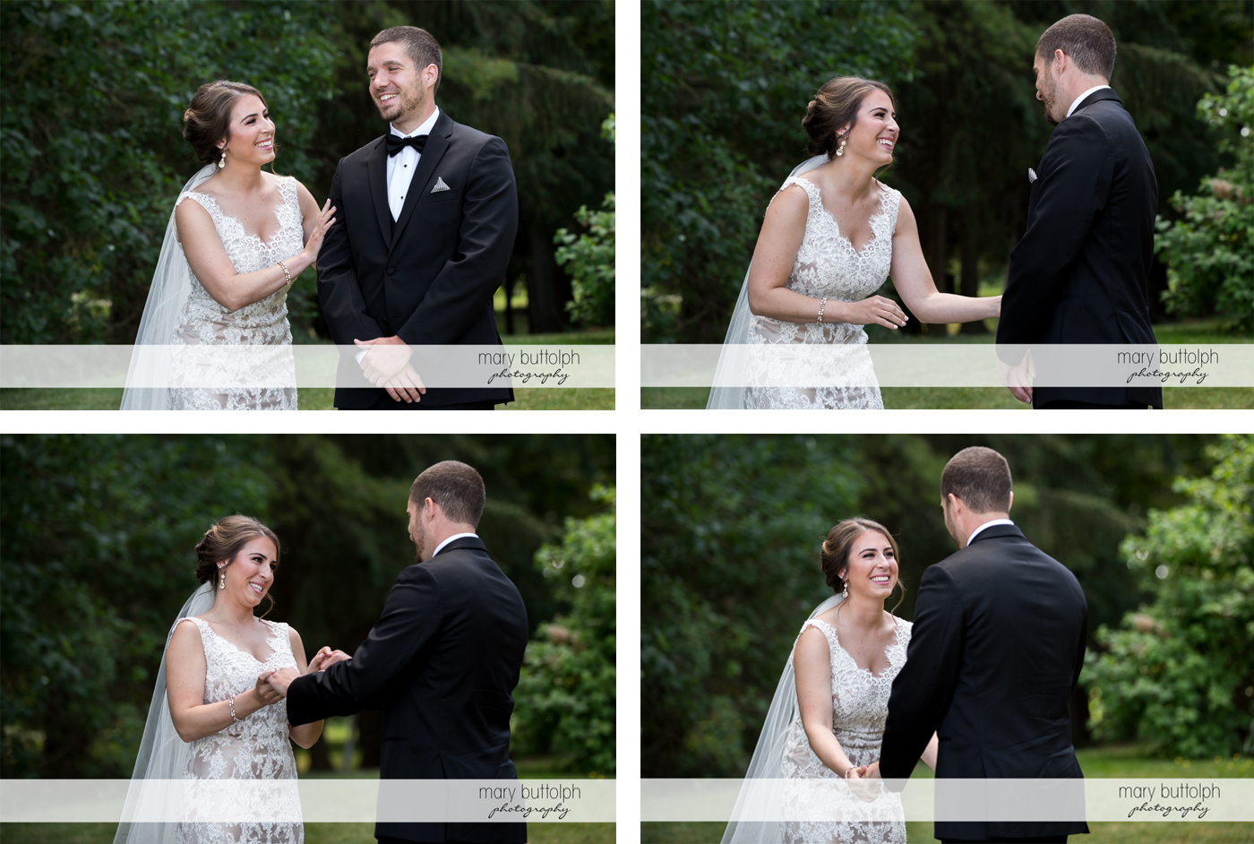 Couple share a light moment in the garden at The Lodge at Welch Allyn Wedding