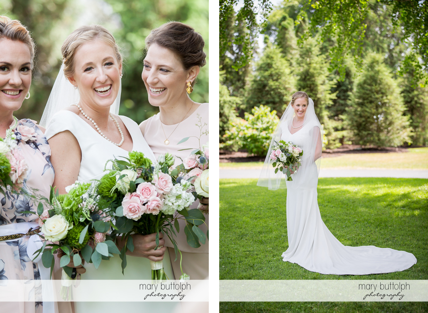 Bride with bridesmaids and in a solo shot in the garden at the Inns of Aurora Wedding