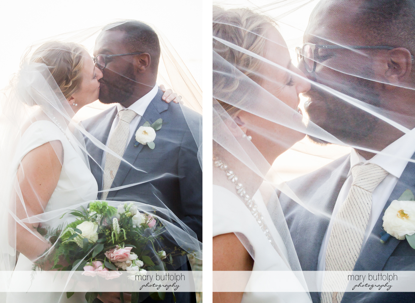 Couple kiss at the Inns of Aurora Wedding