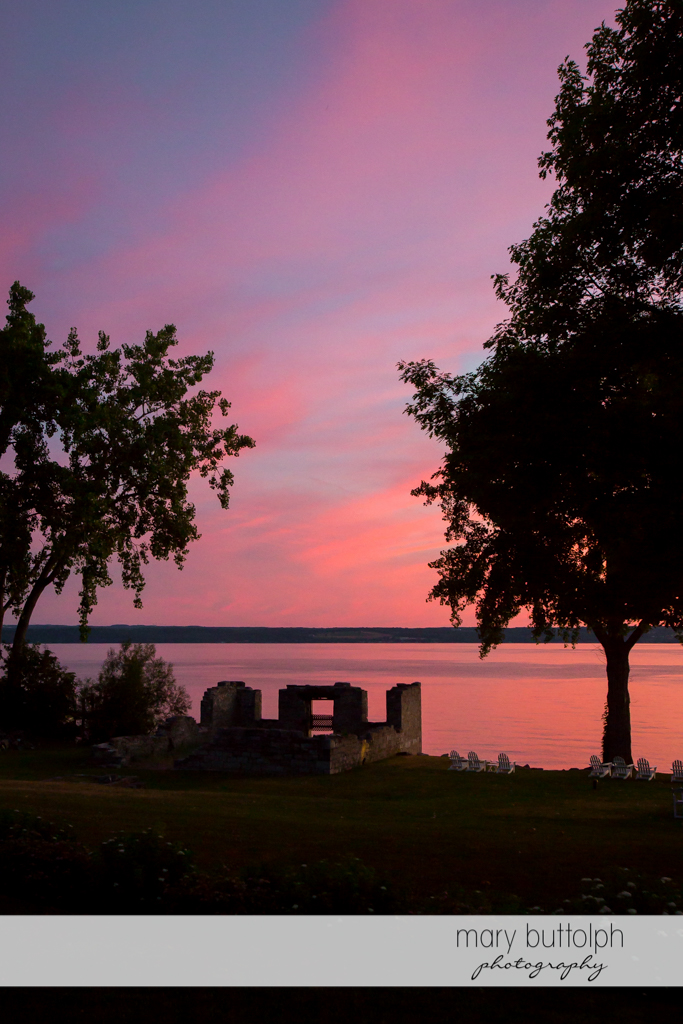 Nightfall at the ruins by the lake at the Inns of Aurora Wedding